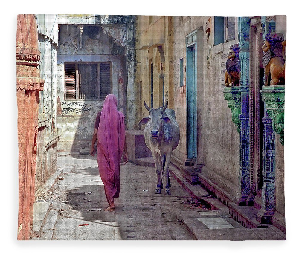 Horned Fleece Blanket featuring the photograph India Lady And Cow by Glenn Losack