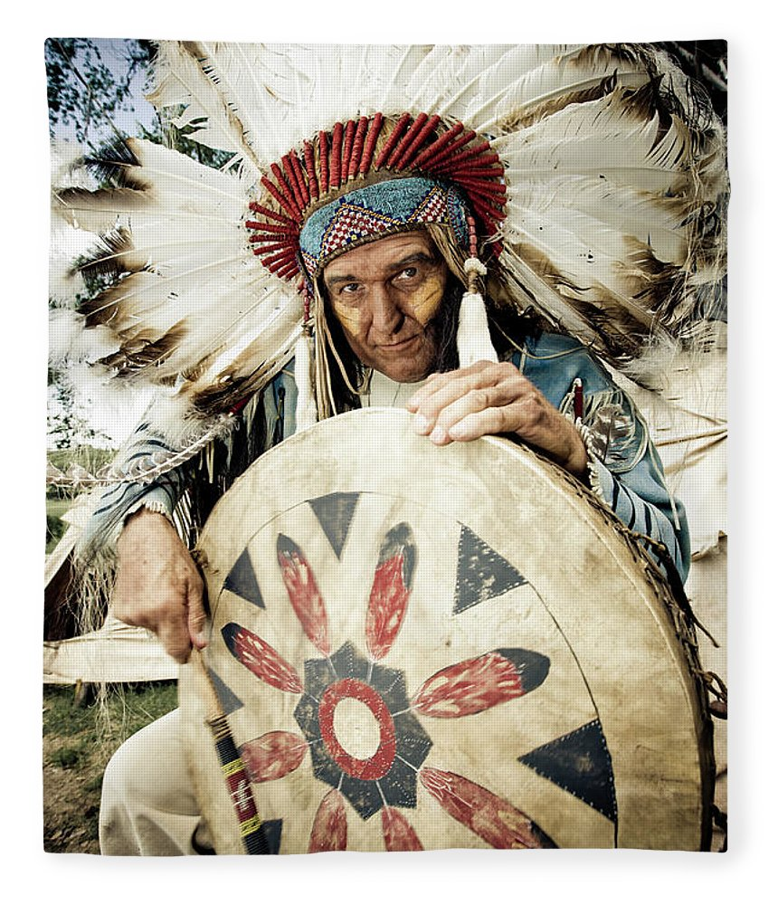 Toughness Fleece Blanket featuring the photograph Indian Chief by Mlenny