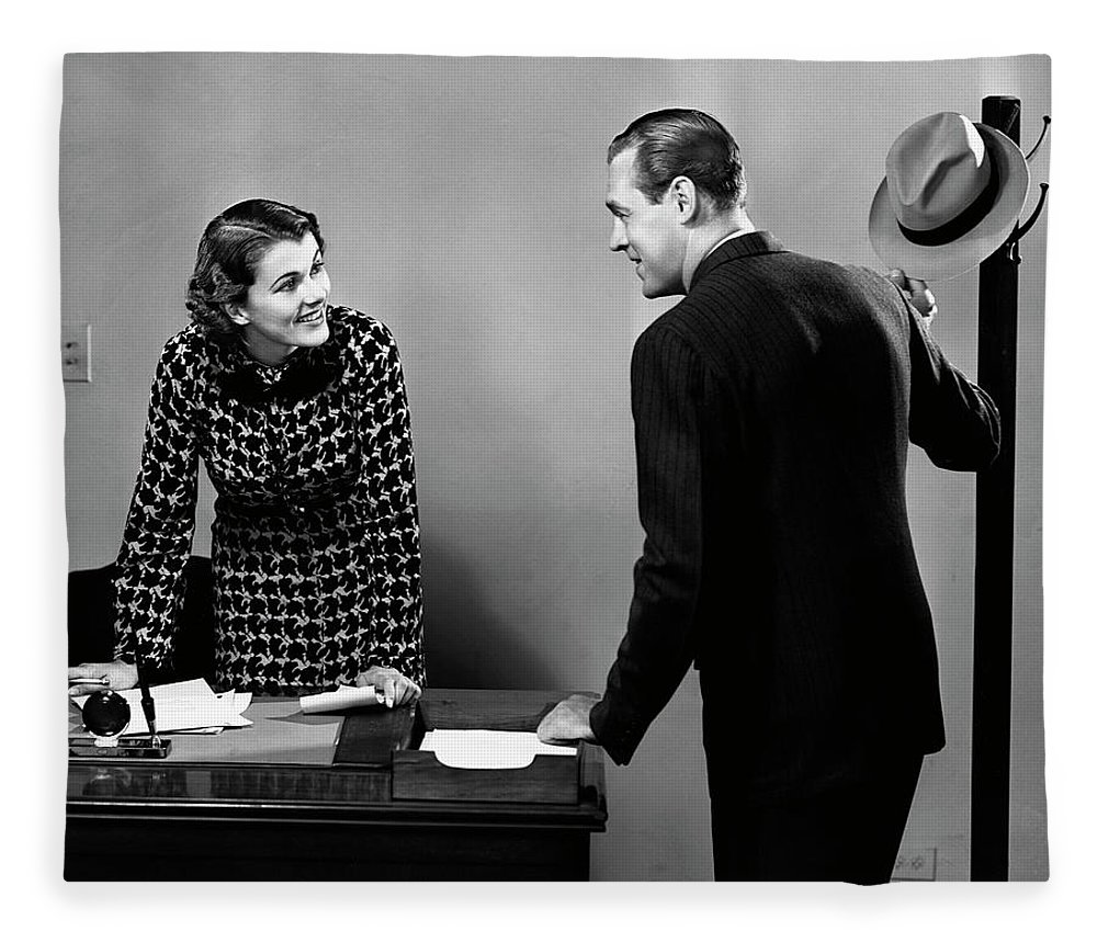 Corporate Business Fleece Blanket featuring the photograph Indoor Business Scene by George Marks