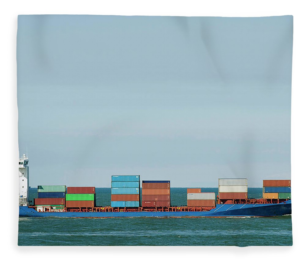 Freight Transportation Fleece Blanket featuring the photograph Industrial Barge Carrying Containers by Mischa Keijser