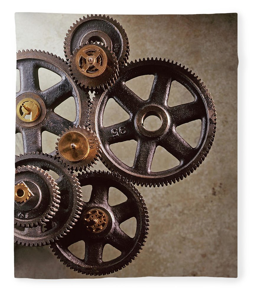 Manufacturing Equipment Fleece Blanket featuring the photograph Industrial Gears by Dny59