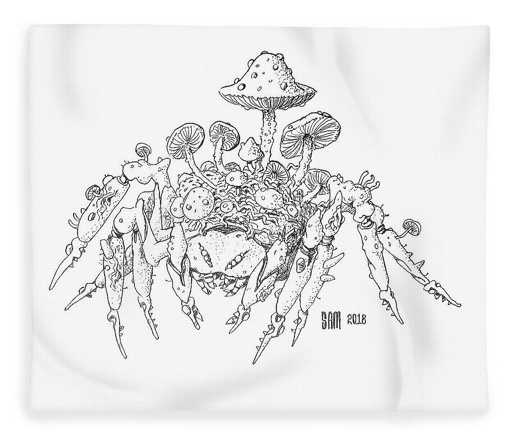 Spider Fleece Blanket featuring the drawing Infested Spider by Sami Matilainen