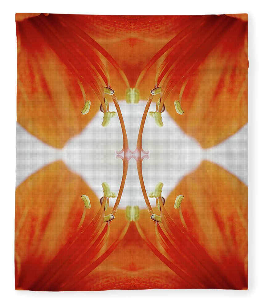 Tranquility Fleece Blanket featuring the photograph Inside An Amaryllis Flower by Silvia Otte