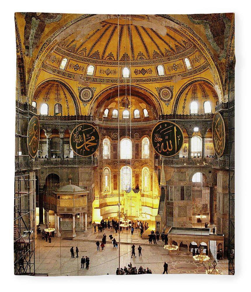 Arch Fleece Blanket featuring the photograph Interior Of Hagia Sophia by Silvia Otte