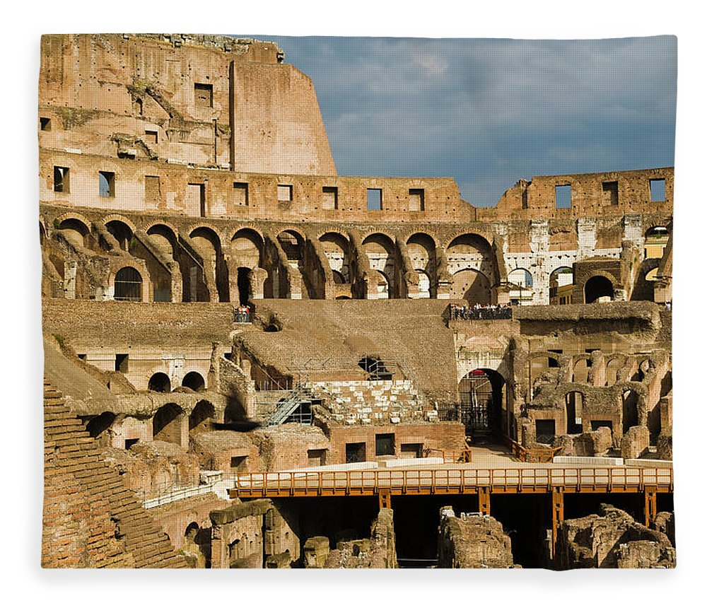 Arch Fleece Blanket featuring the photograph Interior Of The Colosseum, Rome, Italy by Juan Silva