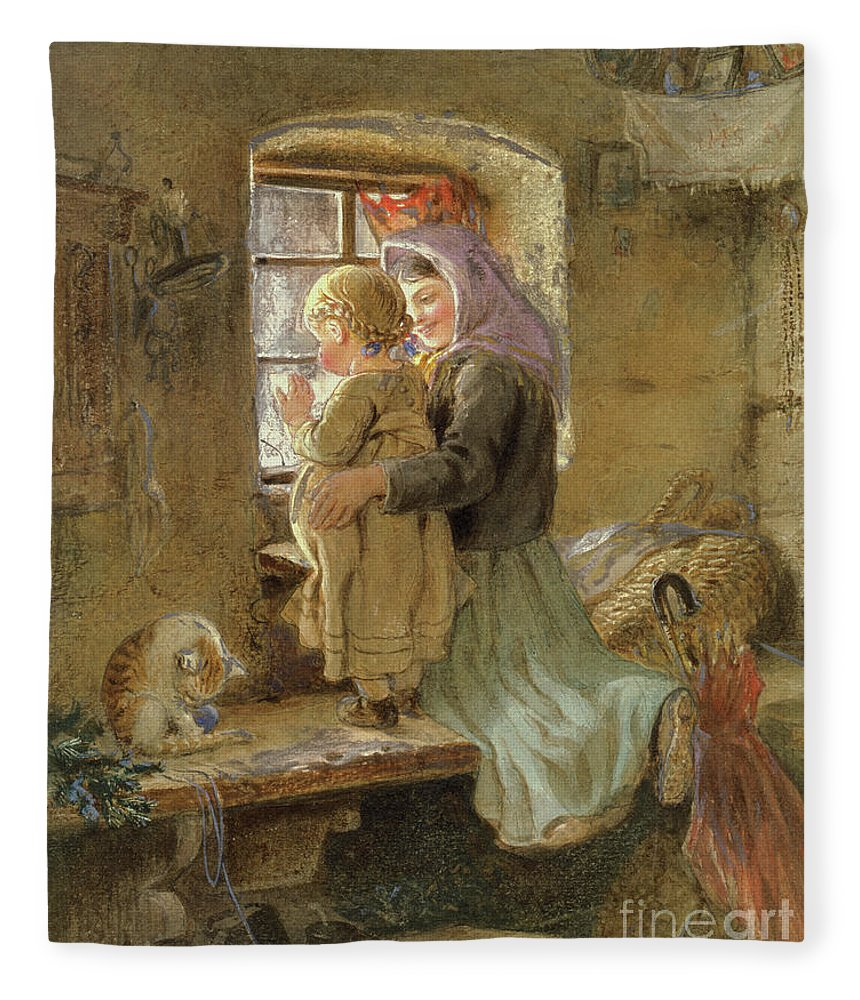 Mom Fleece Blanket featuring the painting Interior Peasant Girl And Child by C Goebel