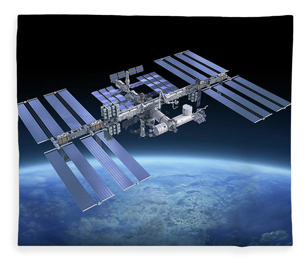 Solar Power Station Fleece Blanket featuring the photograph International Space Station Iss by Scibak