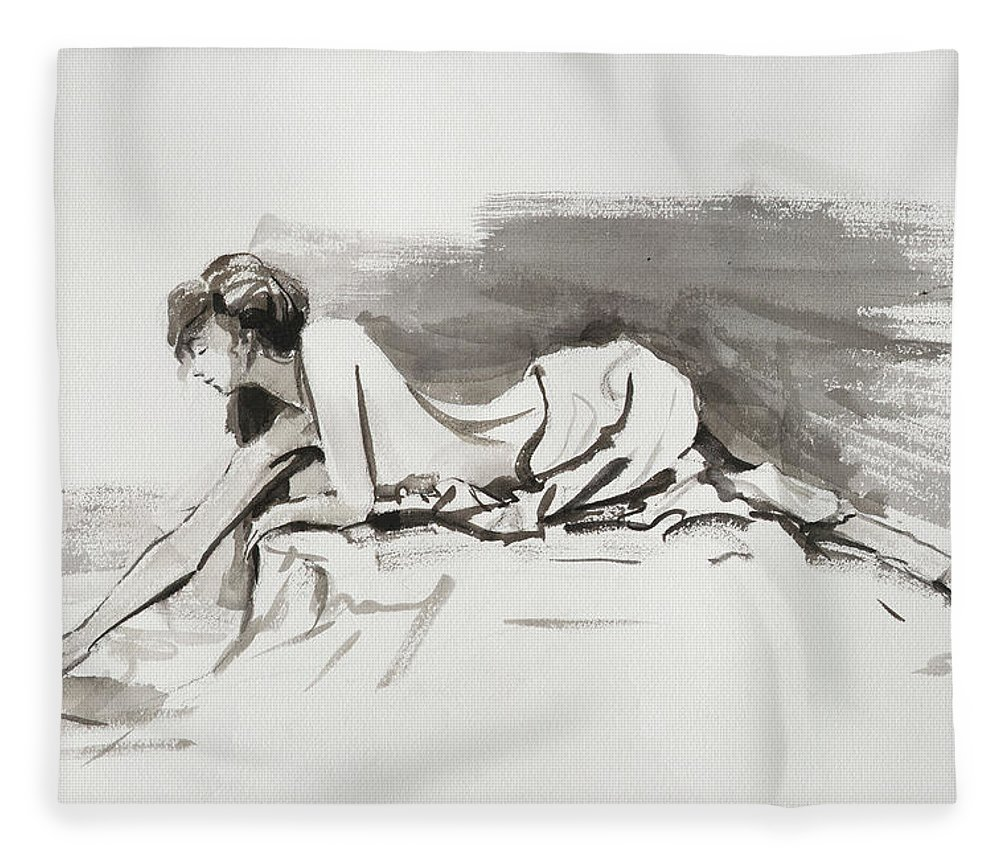 Woman Fleece Blanket featuring the painting Introspection by Steve Henderson
