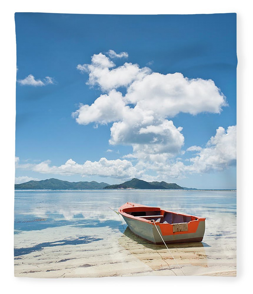 Water's Edge Fleece Blanket featuring the photograph Island Beach Tropical Shore Colorful by Fotovoyager