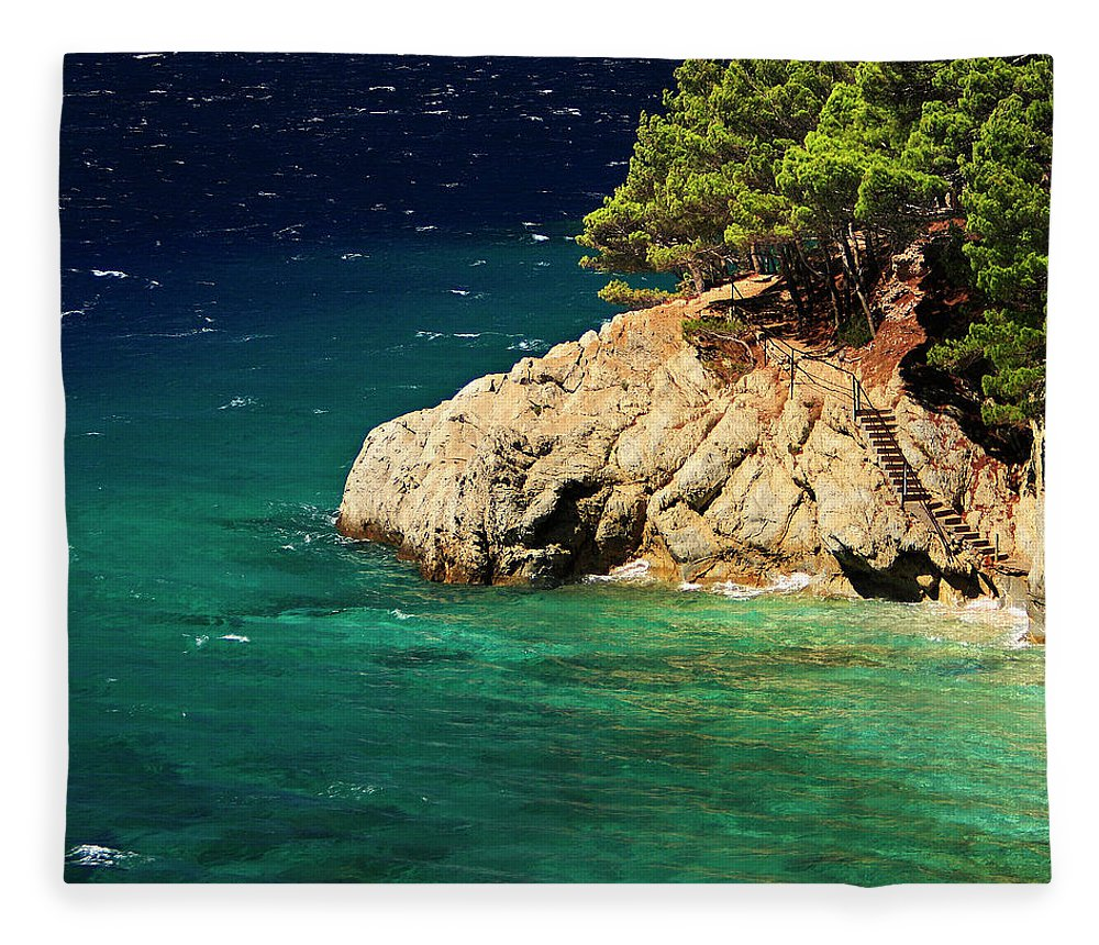 Steps Fleece Blanket featuring the photograph Island In The Adriatic by Tozofoto