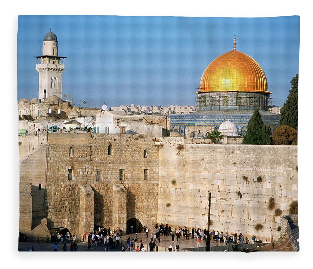 Dome Of The Rock Fleece Blanket featuring the photograph Israel, Jerusalem, Western Wall And The by Medioimages/photodisc