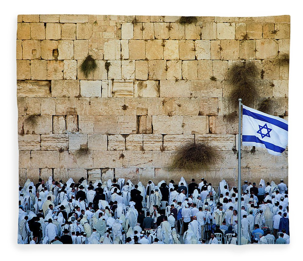 Crowd Fleece Blanket featuring the photograph Israeli Flag Flies At The Western Wall by Gary S Chapman