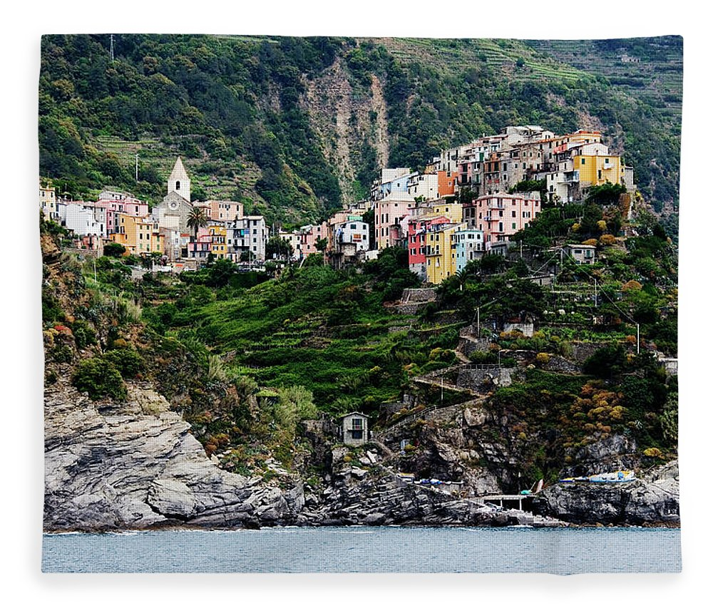 Town Fleece Blanket featuring the photograph Italy, Liguria, Corniglia, View From by Jeremy Woodhouse