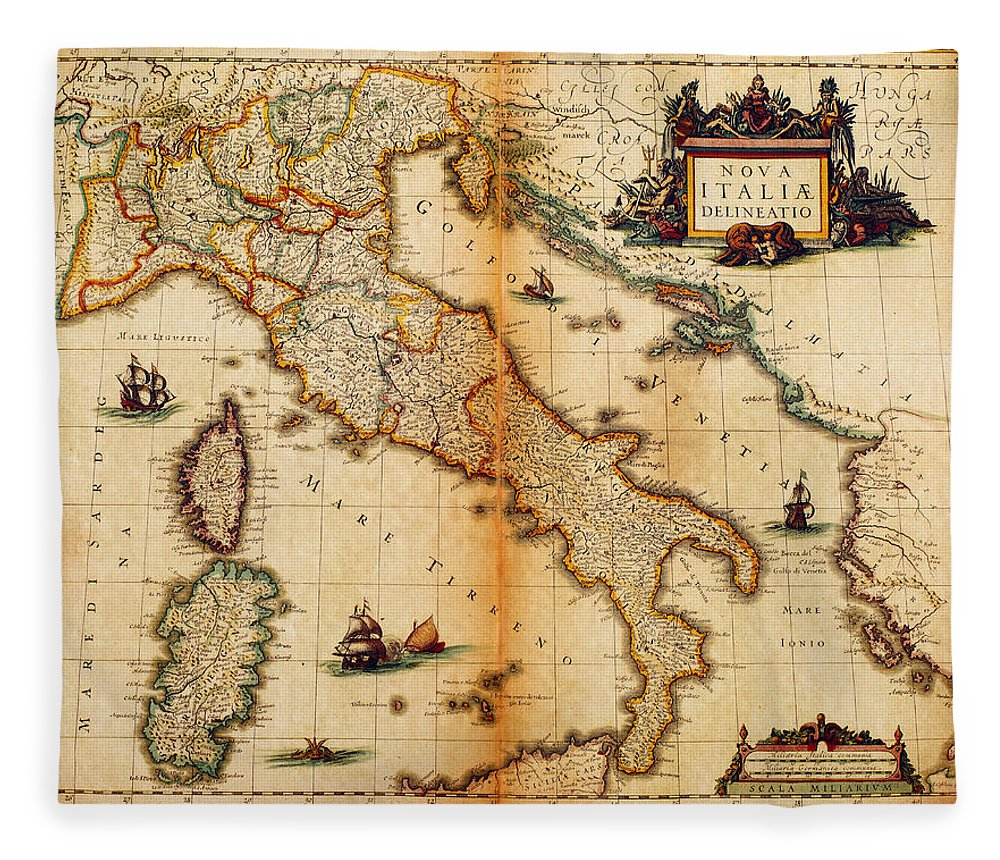 Engraving Fleece Blanket featuring the digital art Italy Map 1635 by Nicoolay