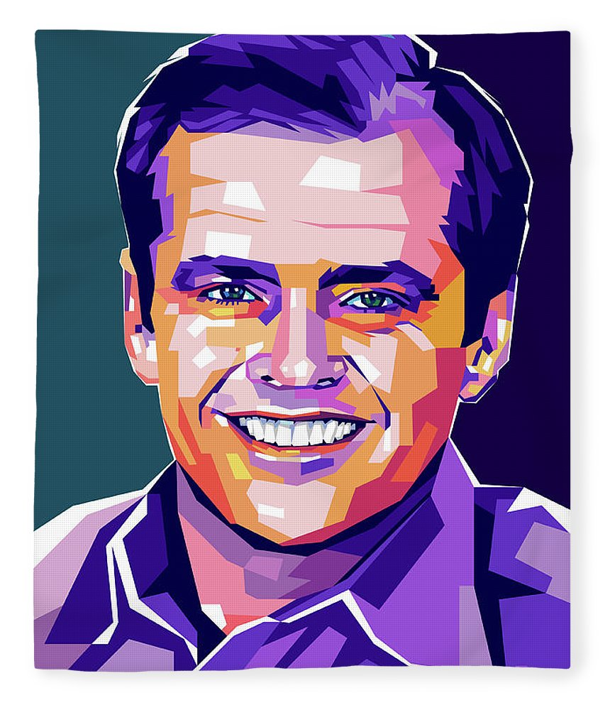 Jack Fleece Blanket featuring the digital art Jack Nicholson Portrait by Stars on Art
