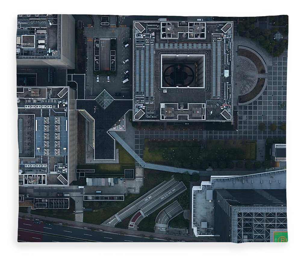 Two Lane Highway Fleece Blanket featuring the photograph Japan, Tokyo, Aerial View Of Shinagawa by Michael H