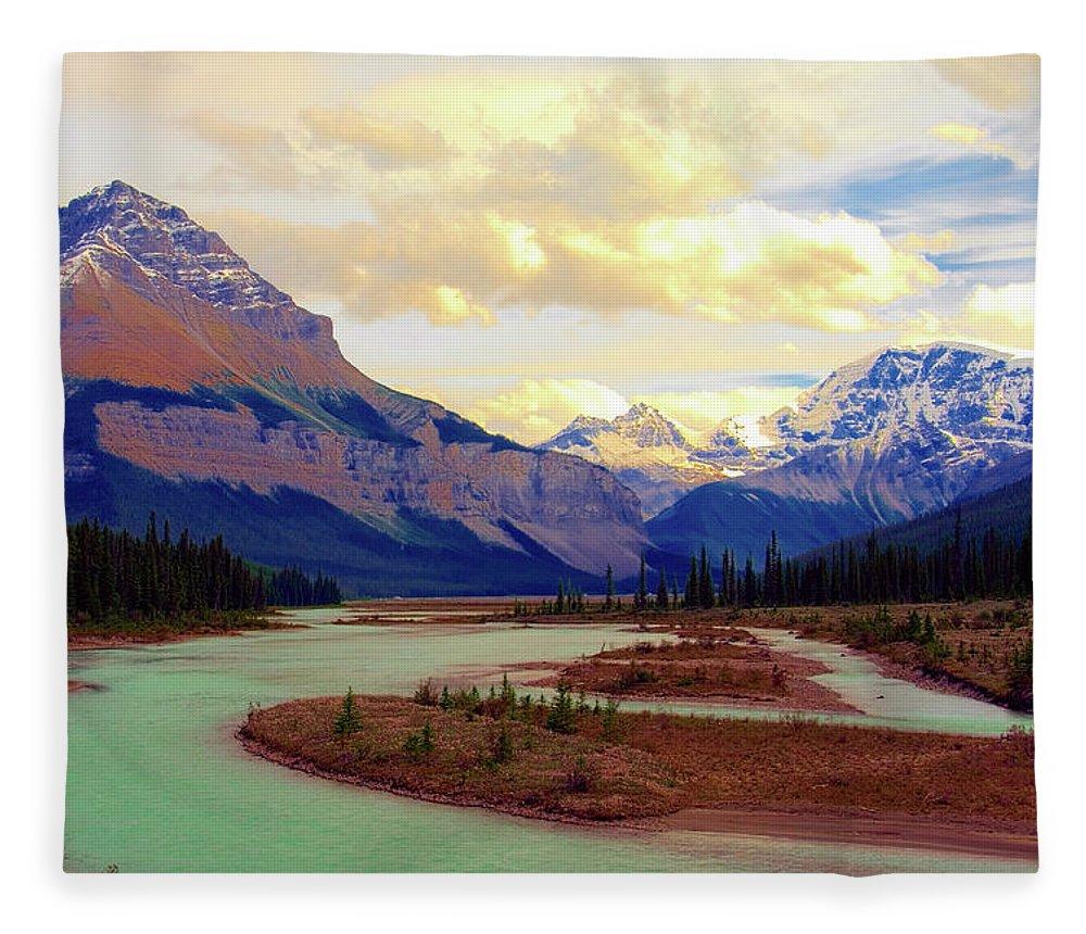 Scenics Fleece Blanket featuring the photograph Jasper Rockies by Teeje