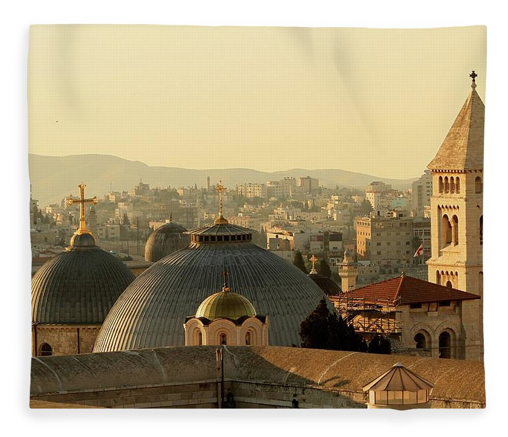 West Bank Fleece Blanket featuring the photograph Jerusalem Churches On The Skyline by Picturejohn