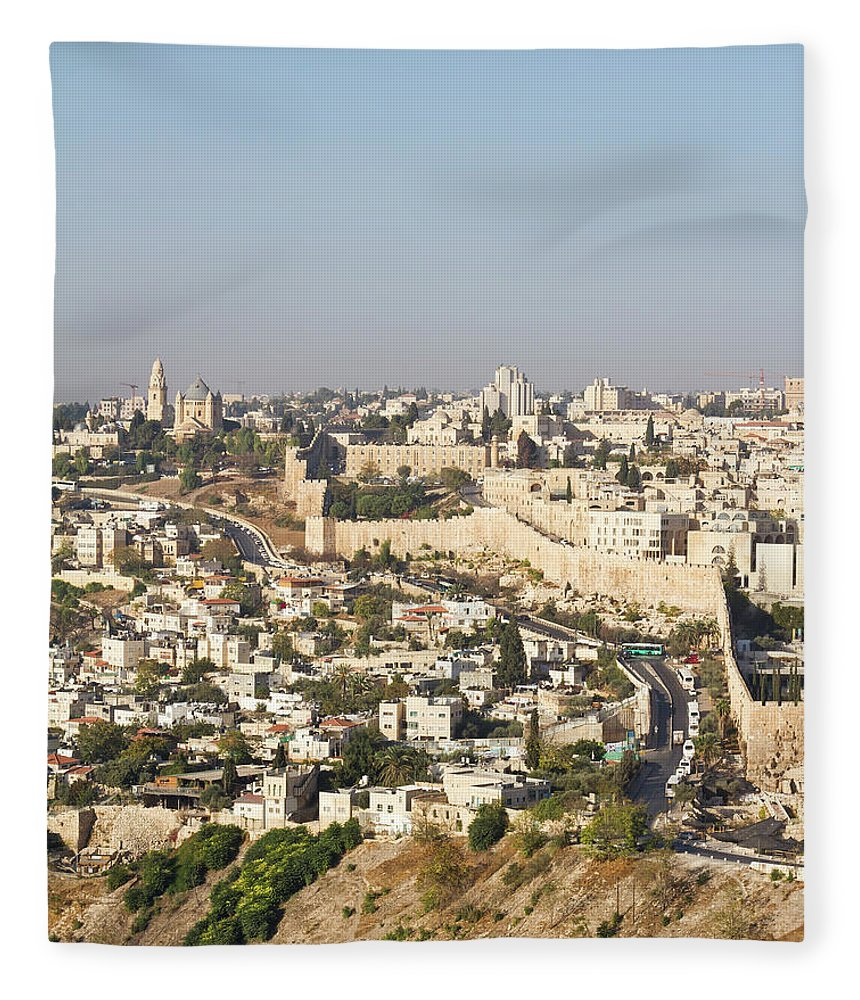 Built Structure Fleece Blanket featuring the photograph Jerusalem City Wall From A Distance by Raquel Lonas