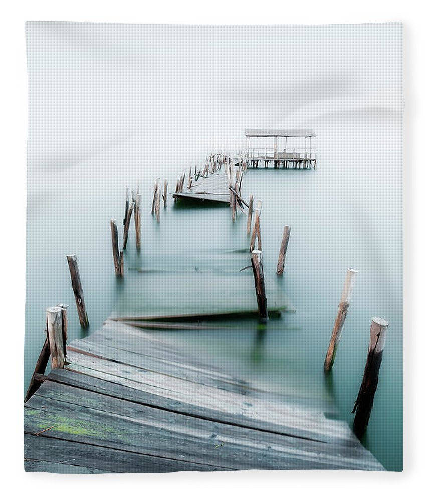 The End Fleece Blanket featuring the photograph Jetty by Lt Photo