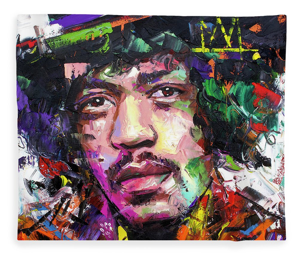 Jimi Fleece Blanket featuring the painting Jimi Hendrix IV by Richard Day
