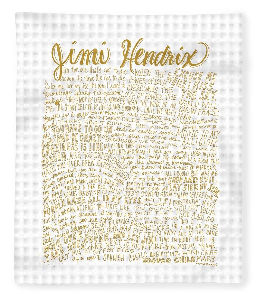 Jimi Hendrix Fleece Blanket featuring the digital art Jimi Hendrix - Lyrics Art by Art Popop