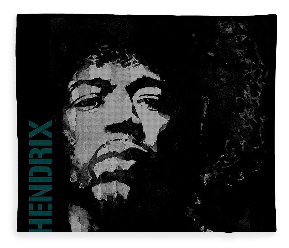 Jimi Hendrix Fleece Blanket featuring the mixed media Jimi Hendrix - Retro Black by Paul Lovering