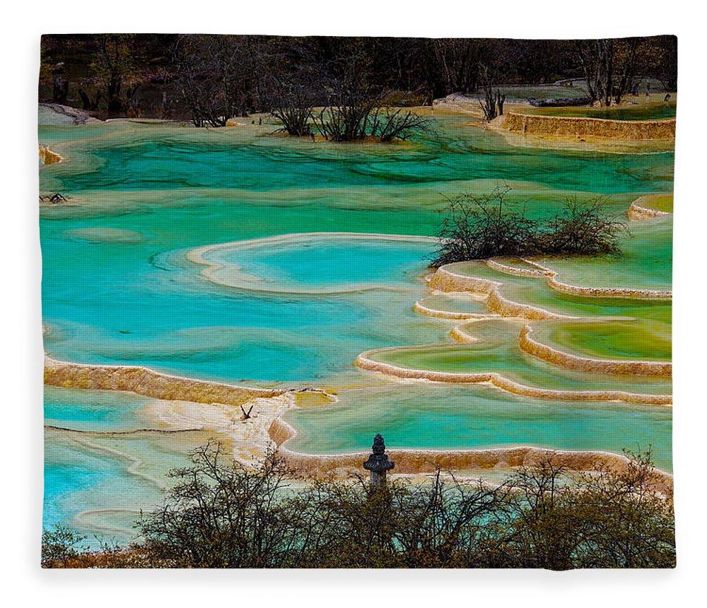 Chinese Culture Fleece Blanket featuring the photograph Jiuzhaigou,sichuan by View Stock