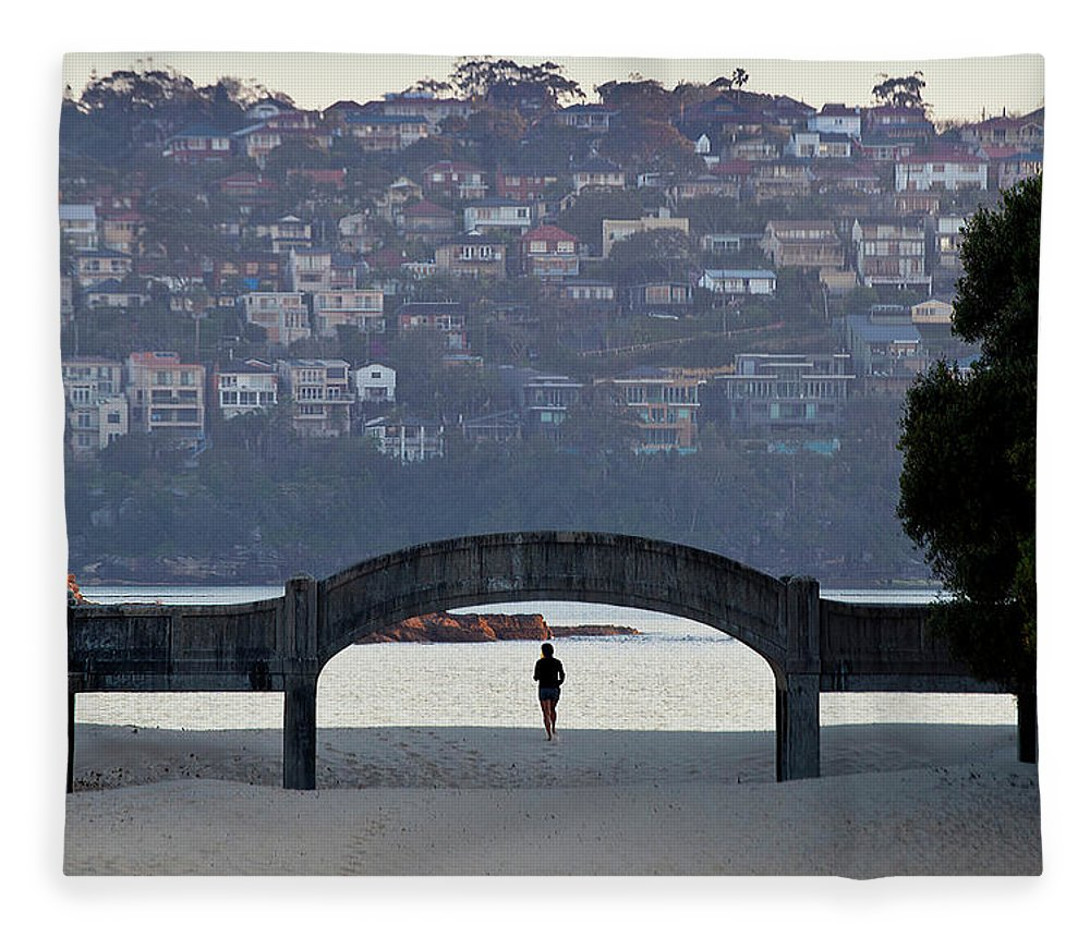 Scenics Fleece Blanket featuring the photograph Jogging On Balmoral Beach by Image By Erik Pronske Photography