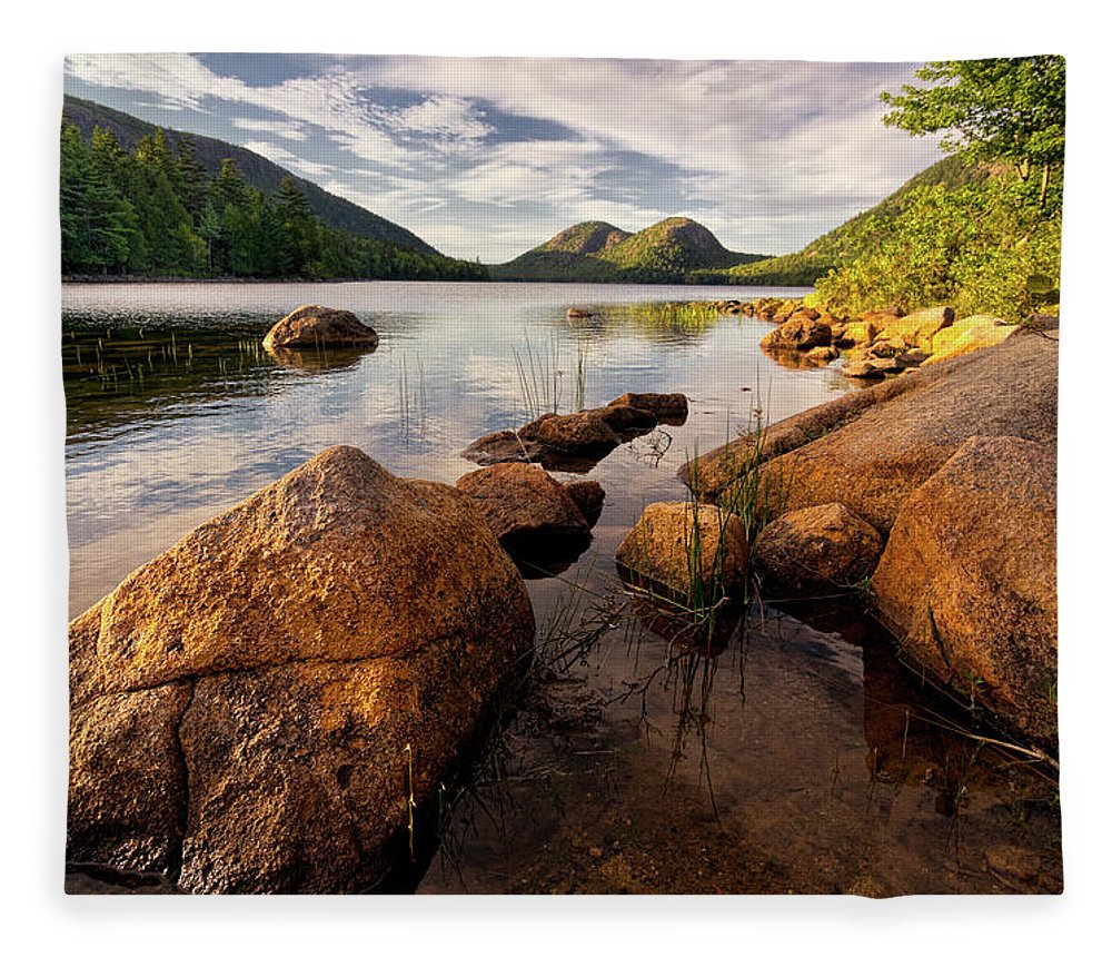 Scenics Fleece Blanket featuring the photograph Jordan Pond Rocks by Www.cfwphotography.com