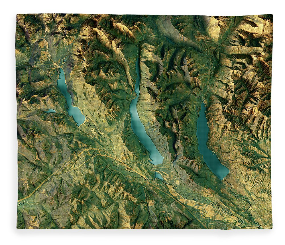 Kachess Lake Fleece Blanket featuring the digital art Kachess Lake 3d Render Topographic Map Color by Frank Ramspott