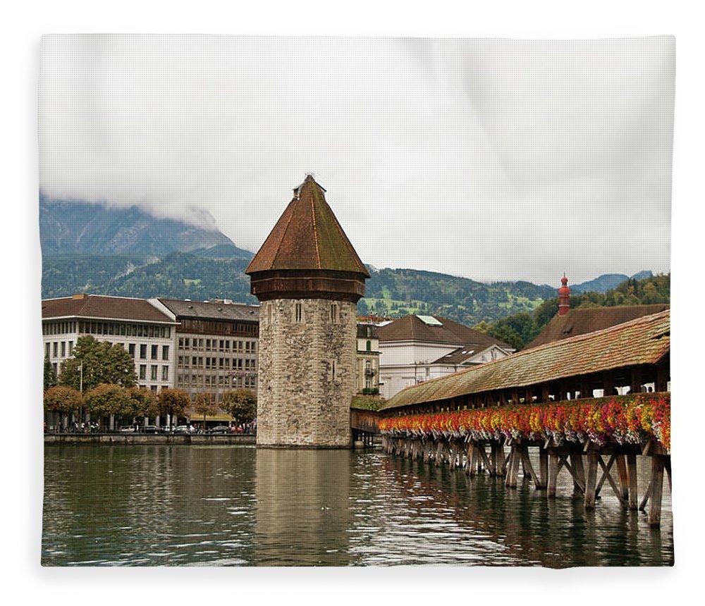 Scenics Fleece Blanket featuring the photograph Kapellbrucke On Reuss River, Lucerne by Cultura Rf/rosanna U