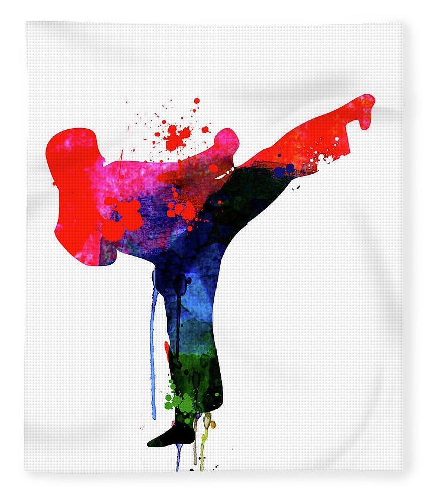 Movies Fleece Blanket featuring the mixed media Karate Kid Watercolor by Naxart Studio