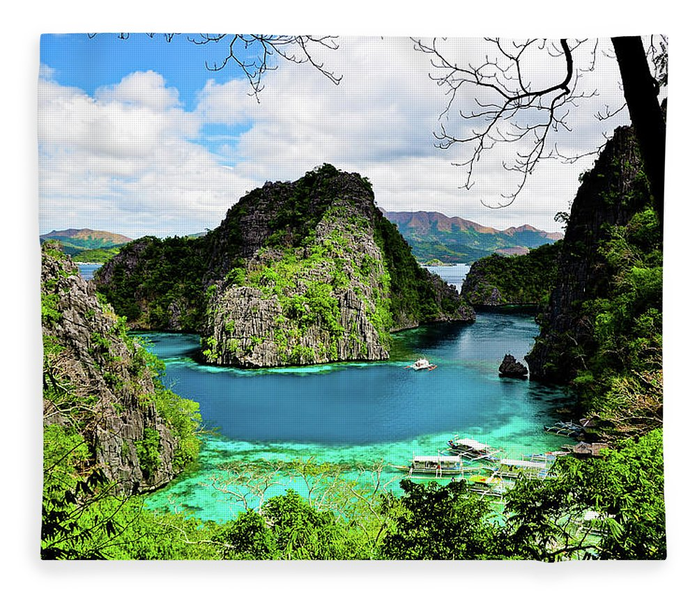 Tranquility Fleece Blanket featuring the photograph Kayangan Bay by Emilio Maranon Iii, Philippines