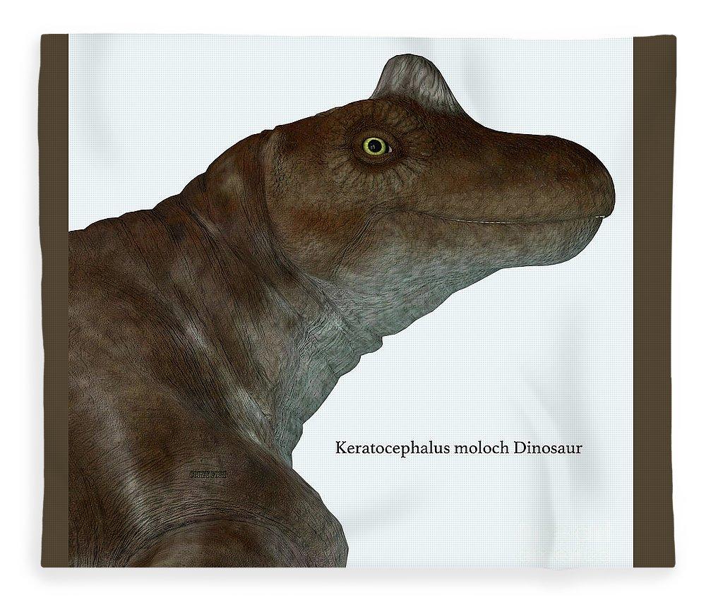 Keratocephalus Fleece Blanket featuring the digital art Keratocephalus Dinosaur Head With Font by Corey Ford