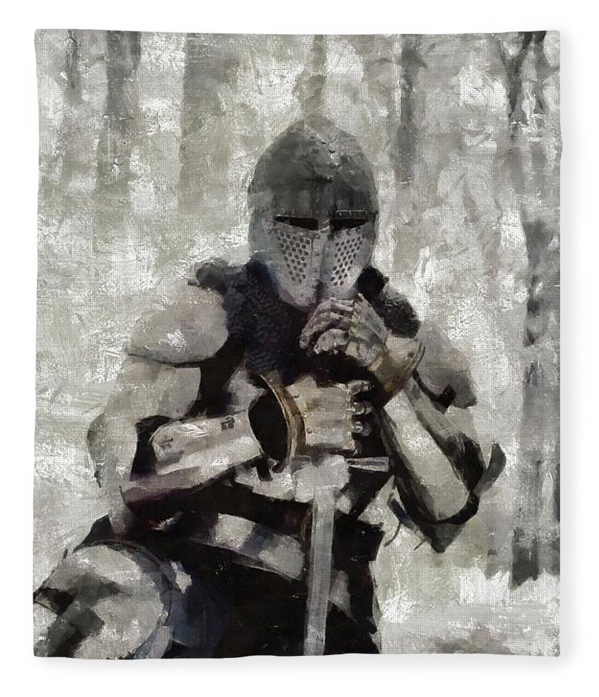 King Fleece Blanket featuring the painting King Arthur By Mary Bassett by Esoterica Art Agency