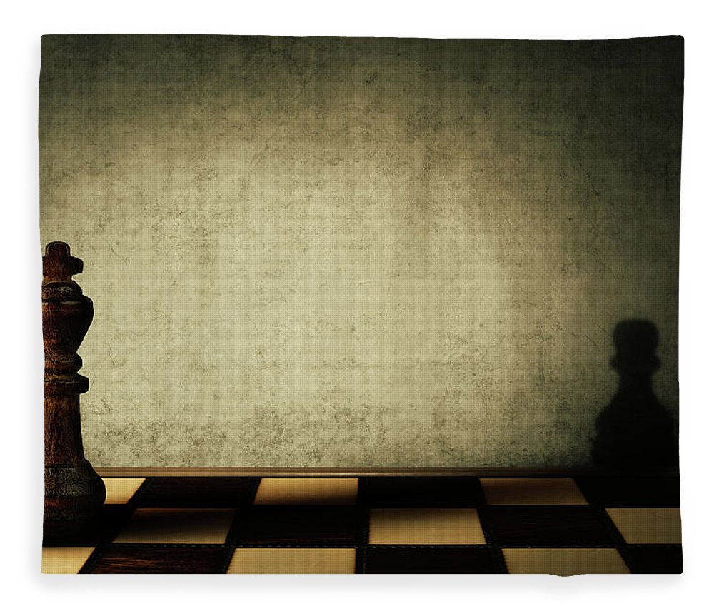 Chess Fleece Blanket featuring the digital art King Complex by Psycho Shadow