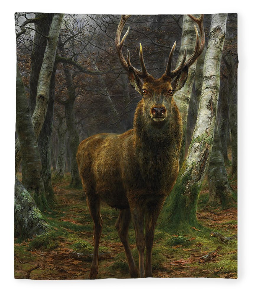 Rosa Bonheur Fleece Blanket featuring the painting King Of The Forest by Rosa Bonheur