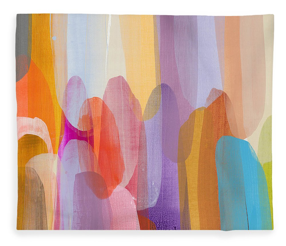 Abstract Fleece Blanket featuring the painting Kinship by Claire Desjardins