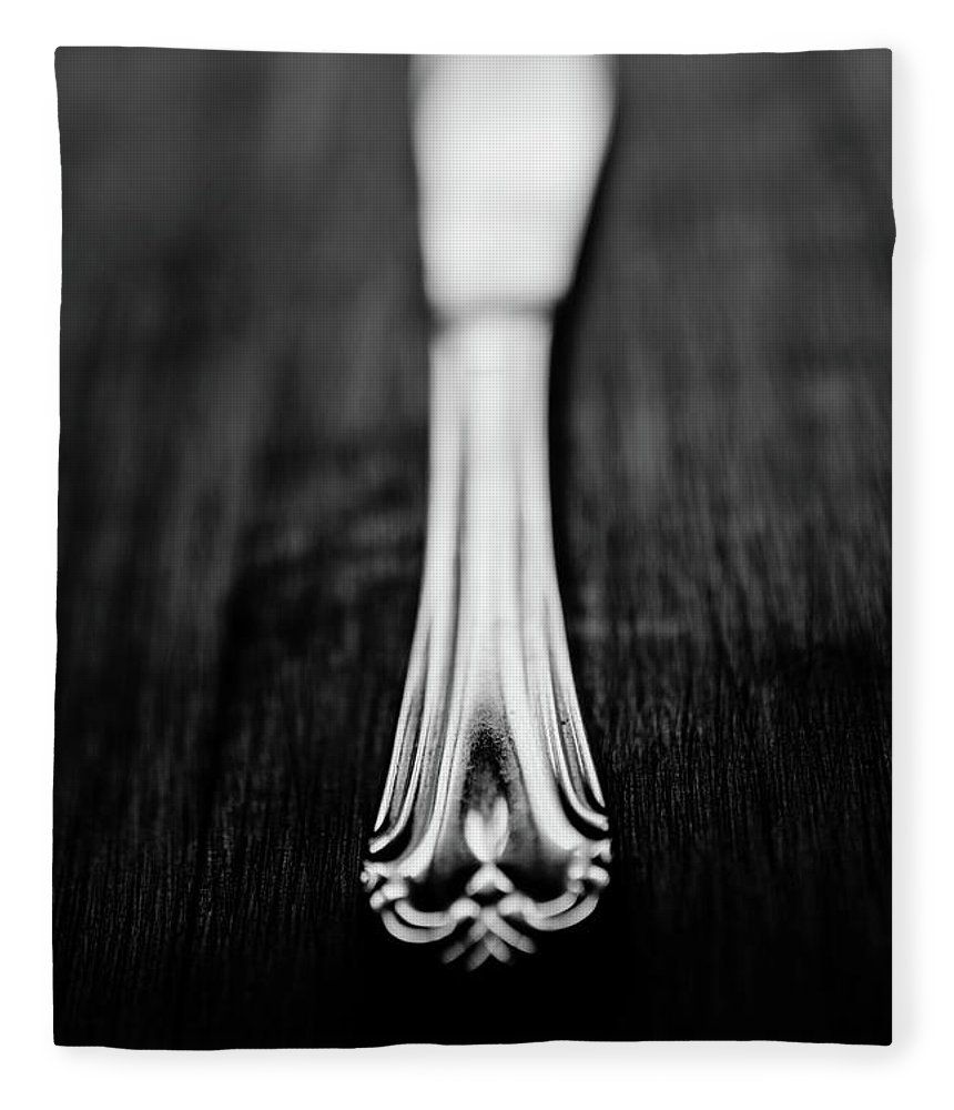 Silver Colored Fleece Blanket featuring the photograph Knife by Mmeemil