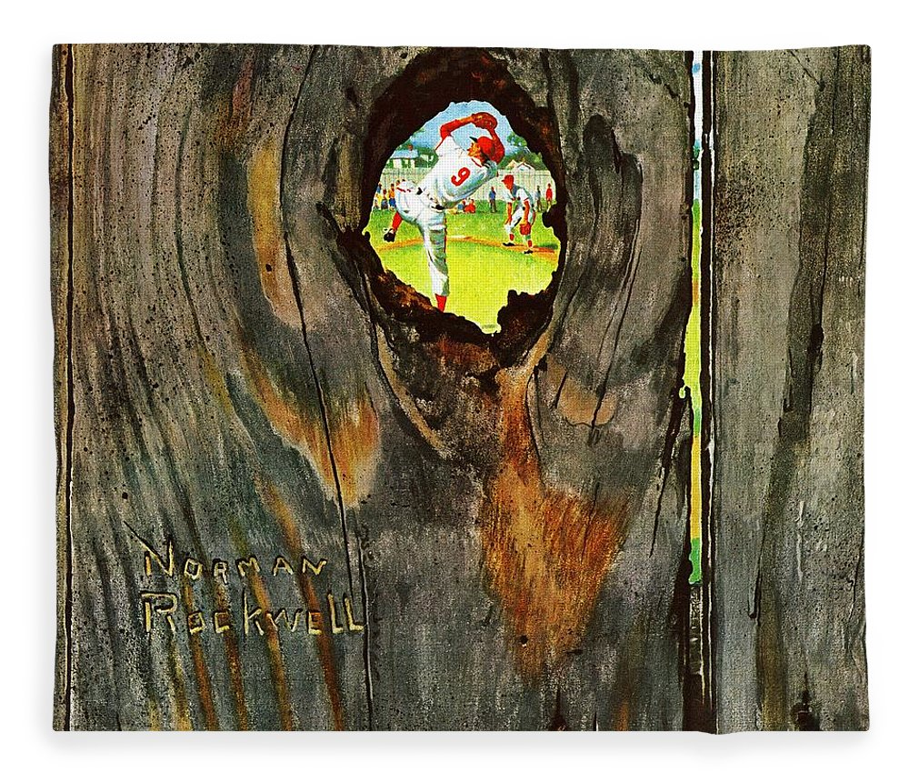 Baseball Fleece Blanket featuring the drawing Knothole Baseball by Norman Rockwell