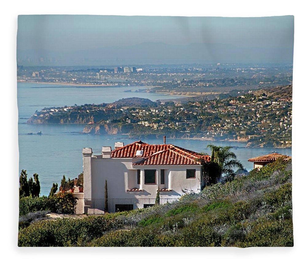 Laguna Beach Fleece Blanket featuring the photograph Laguna Beach Hilltop Homes by Mitch Diamond
