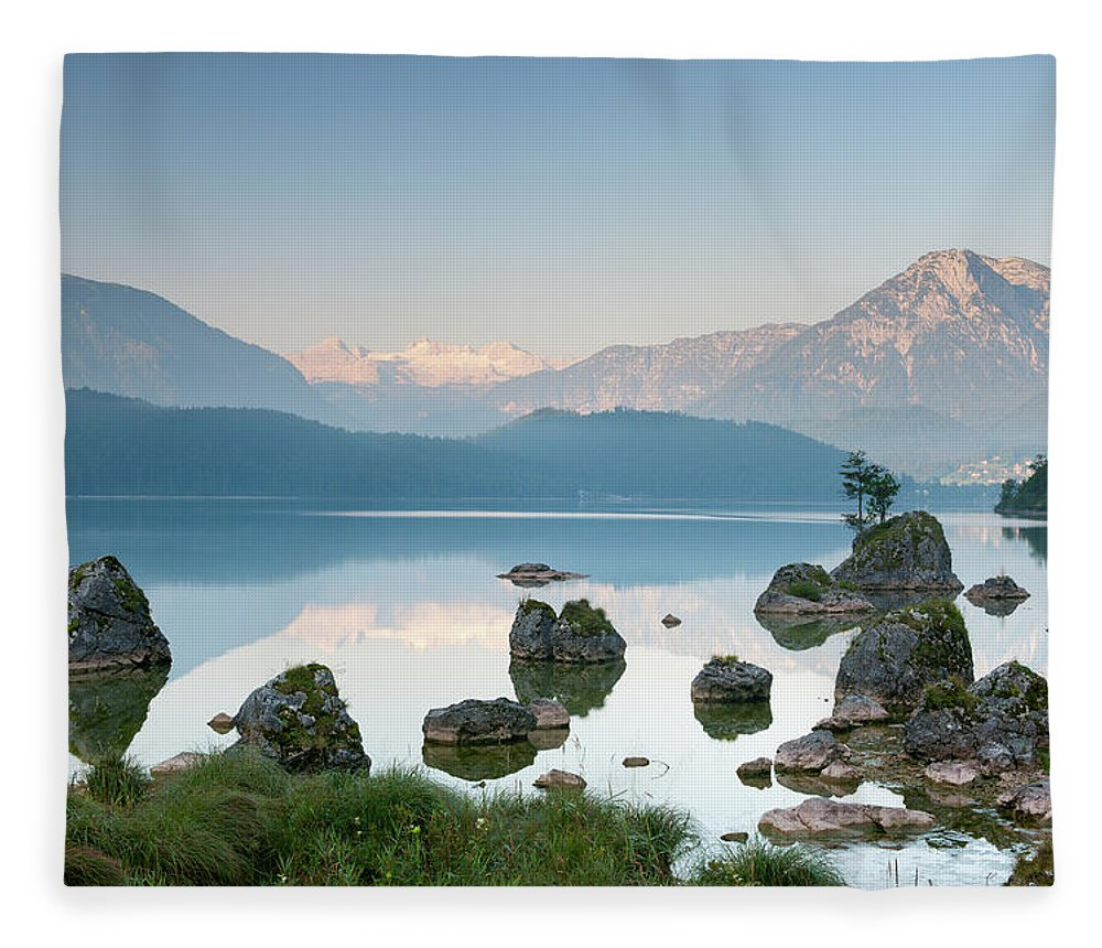 Scenics Fleece Blanket featuring the photograph Lake Altaussee With Glacier Dachstein by 4fr