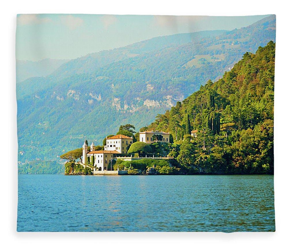 Scenics Fleece Blanket featuring the photograph Lake Como Scenic by Anouchka