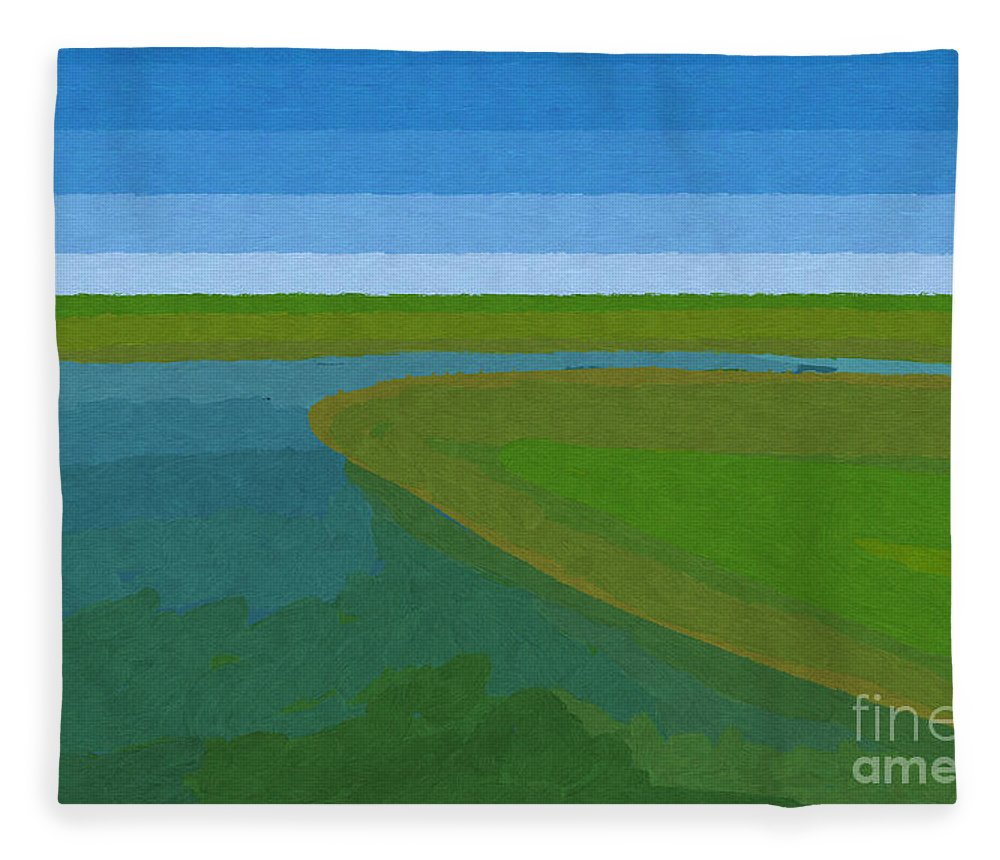 Pflugerville Fleece Blanket featuring the painting Lake Pflugerville Abstract Landscape by D Tao