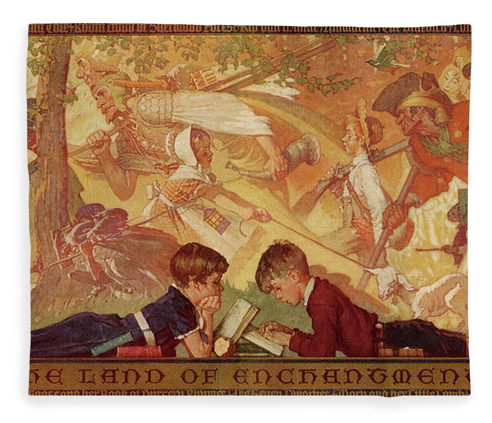 Books Fleece Blanket featuring the drawing Land Of Enchantment by Norman Rockwell
