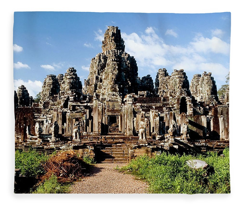 Scenics Fleece Blanket featuring the photograph Landscape Photo Of Bayon Temple In by Laughingmango