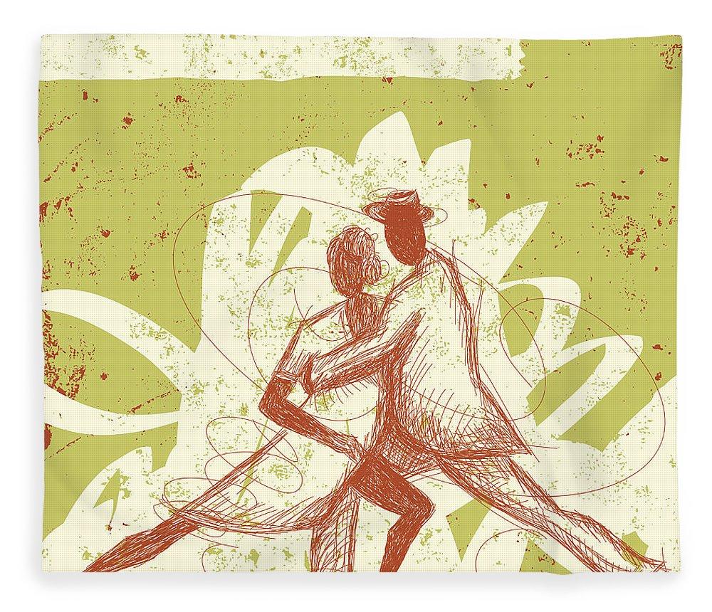 Heterosexual Couple Fleece Blanket featuring the digital art Latin Dancers by Retrorocket