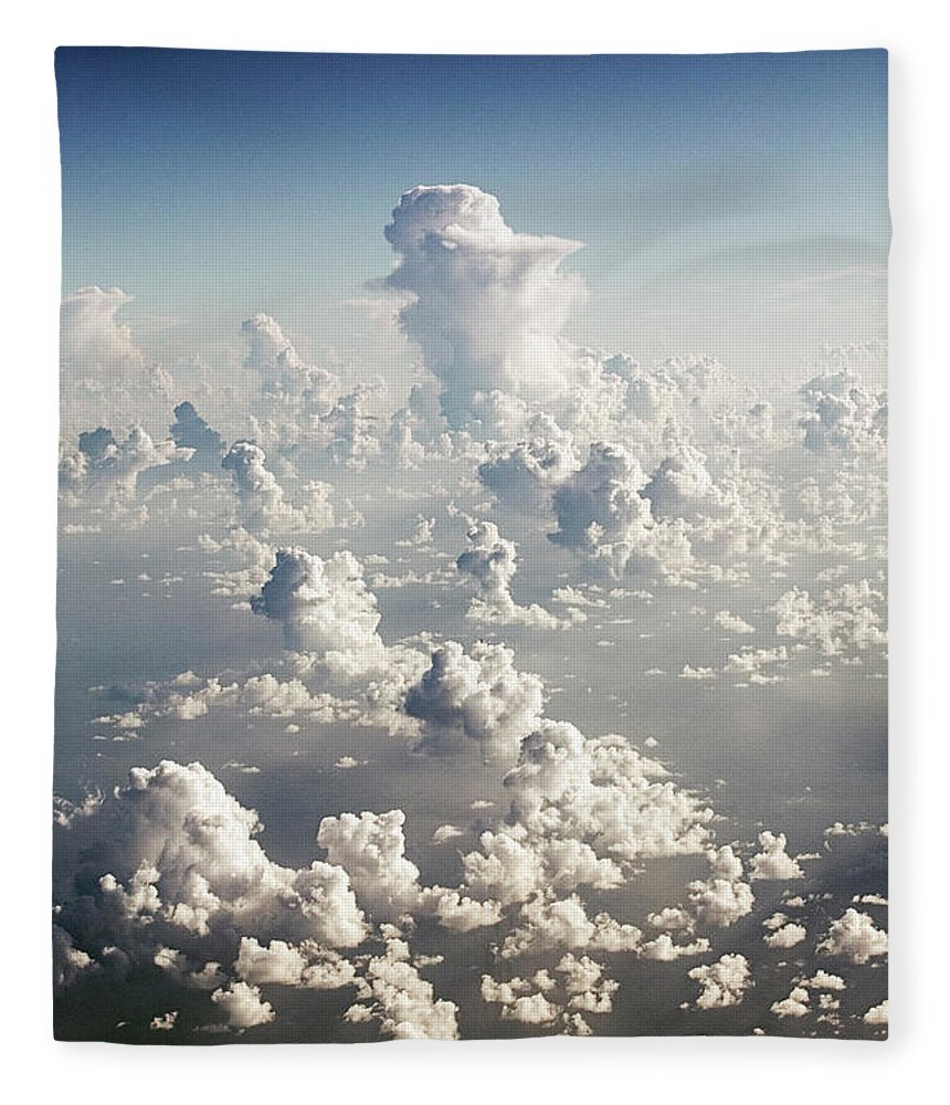 Tranquility Fleece Blanket featuring the photograph Layers Of Cumulus Clouds by Robert Llewellyn