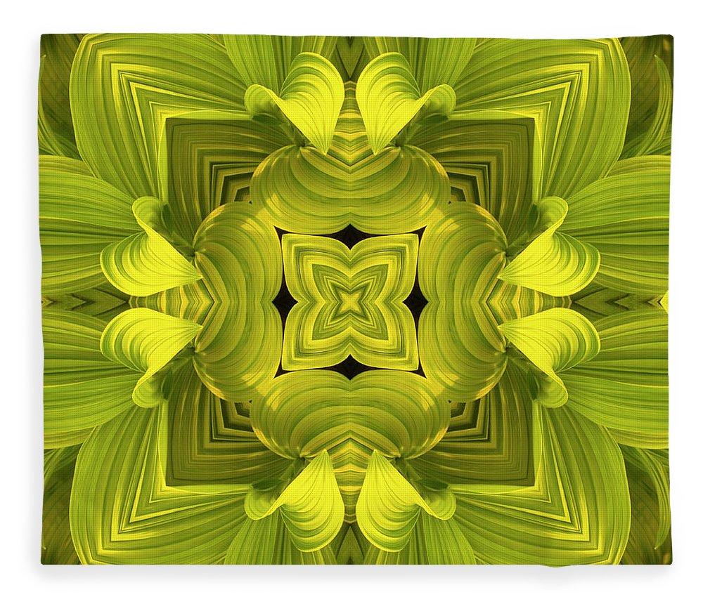 Mandala Fleece Blanket featuring the photograph Leafy Mandala by Steve Satushek